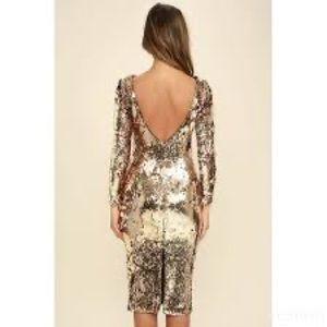 Dress the Population Emery Gold Sequin Midi Dress